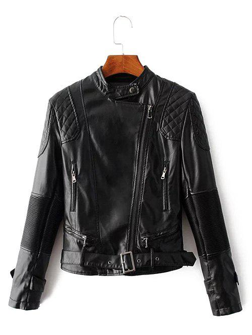 Unique Zip Up Belted Punk Jacket