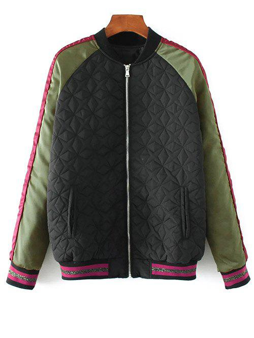 Trendy Embroidered Quilted Bomber Jacket