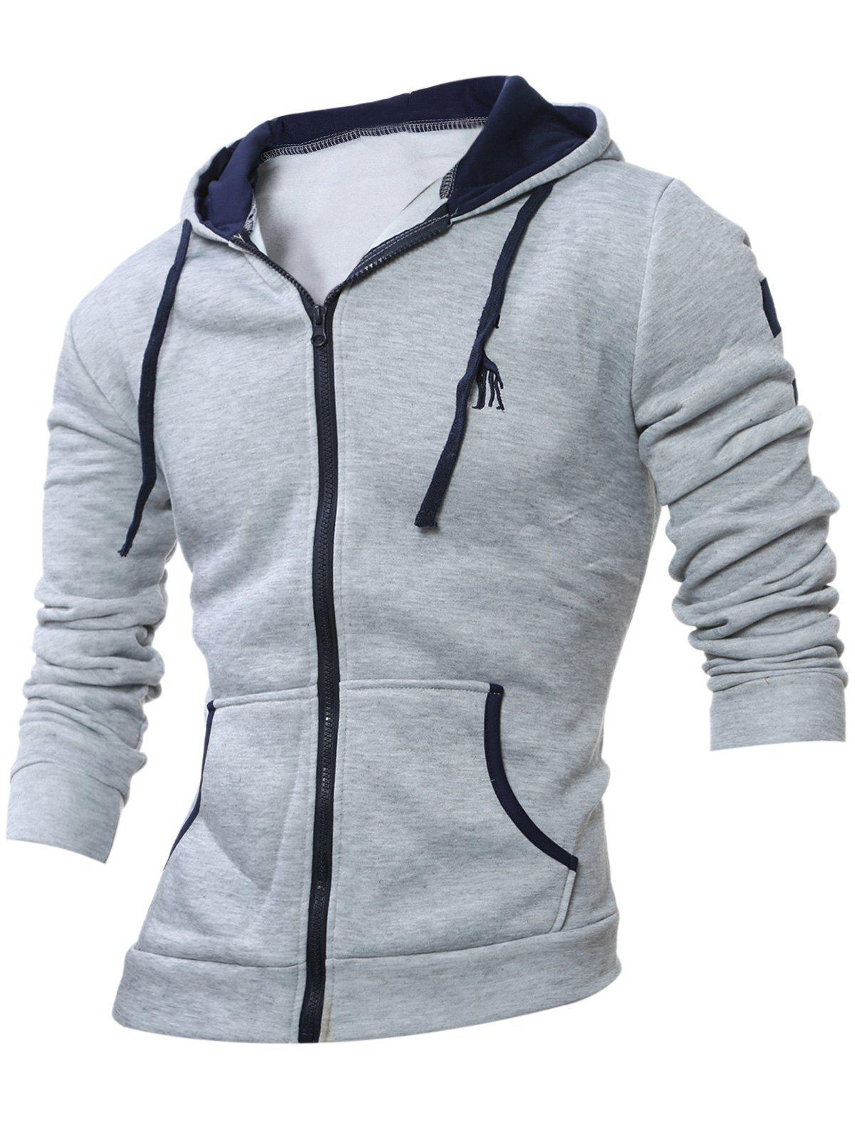Broderie Zip Up Hoodie à manches longues