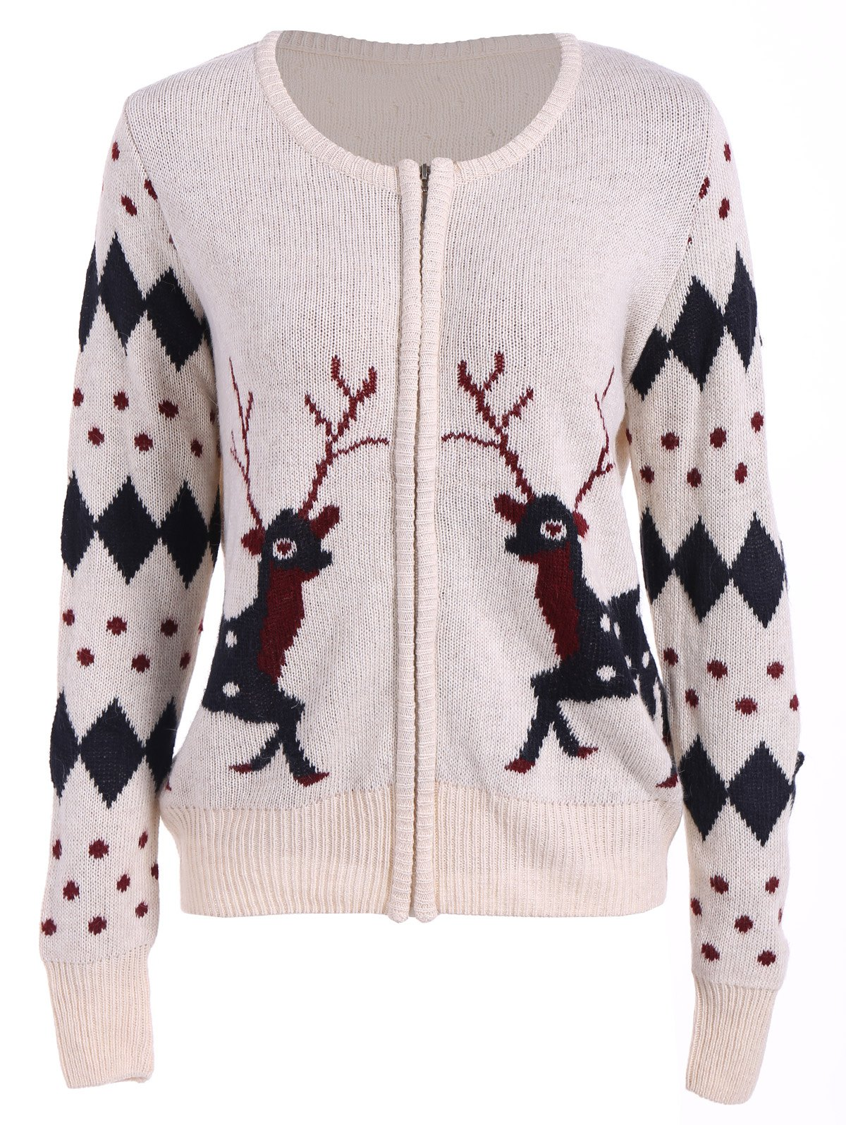 Online Christmas Deer Zip Up Cardigan