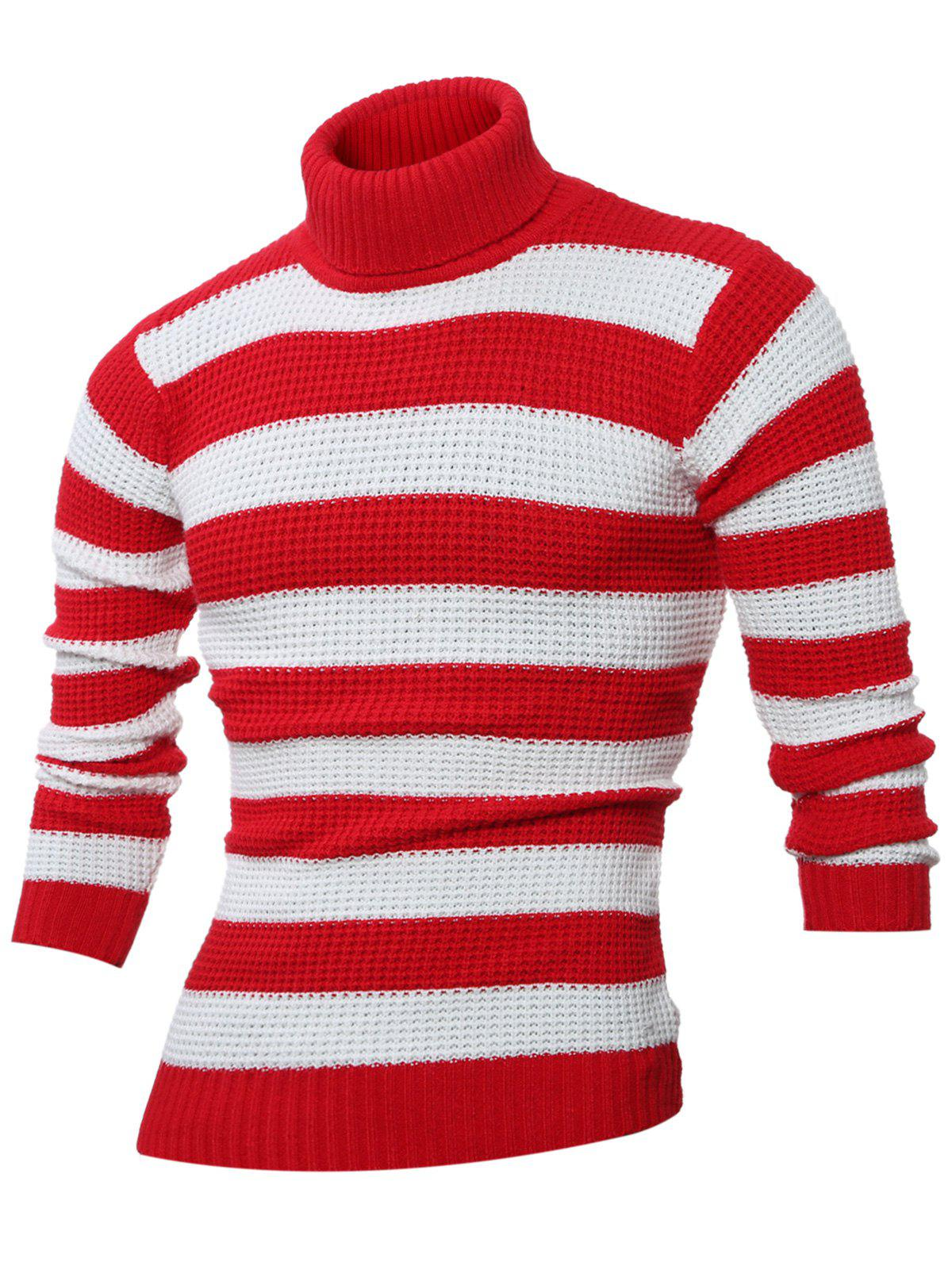 Online Turtle Neck Long Sleeves Striped Sweater