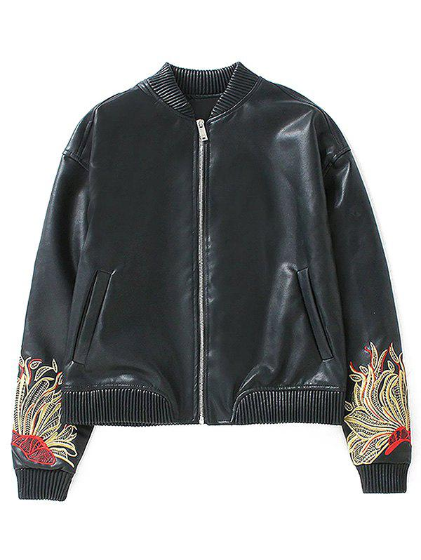 Outfits Flower Embroidered Faux Leather Bomber Jacket