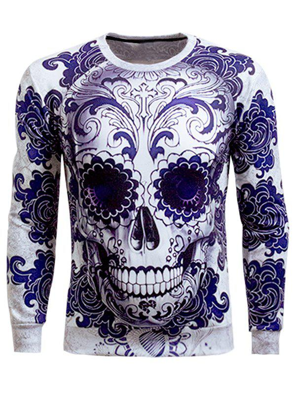 308f7eadf9a8 Discount Long Sleeve Round Neck Skull 3D Printed Sweatshirt