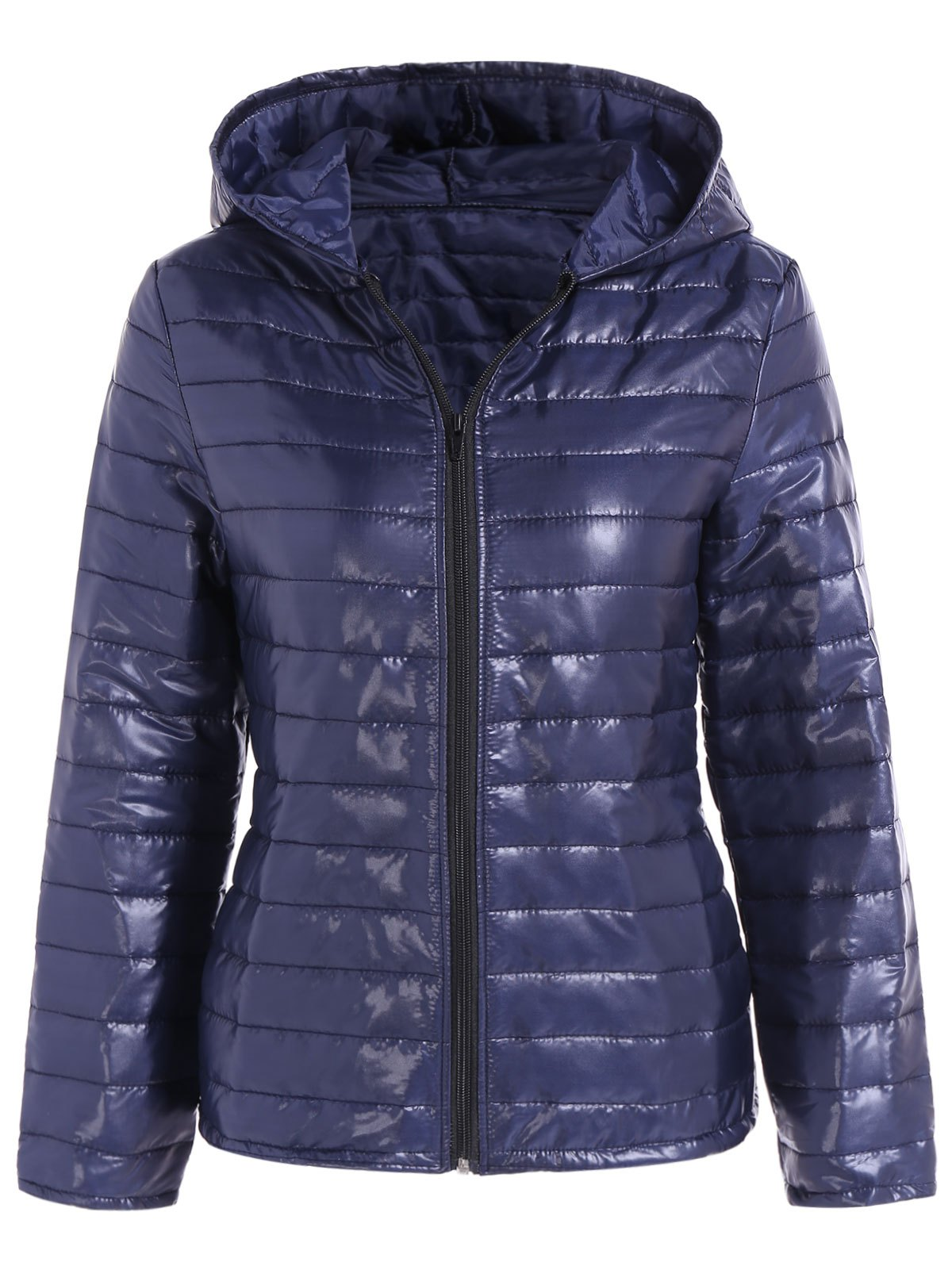 Slim Quilted Winter Jacket with HoodWOMEN<br><br>Size: L; Color: DEEP BLUE; Clothes Type: Padded; Material: Cotton Blends,Polyester; Type: Slim; Shirt Length: Regular; Sleeve Length: Full; Collar: Hooded; Closure Type: Zipper; Pattern Type: Solid; Embellishment: Pockets; Style: Casual; Season: Fall,Spring,Winter; Weight: 0.328kg; Package Contents: 1 x Jacket;