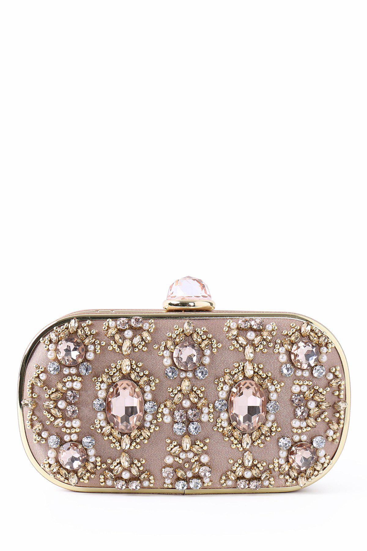 Fashion Faux Jewel Metal Trimmed Evening Bag