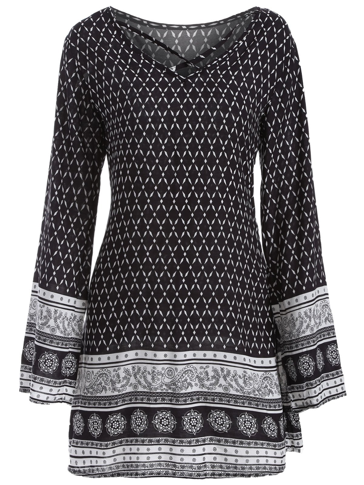 Outfit Long Sleeve Indian Print Dress