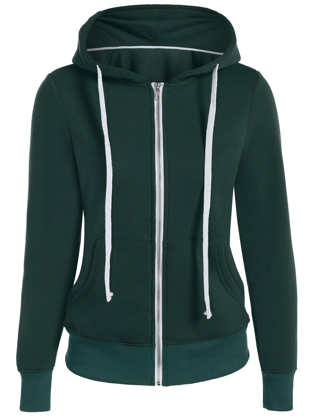 Fancy Zip Up Drawstring Pocket Design Hoodie