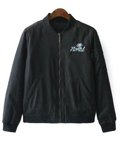 Discount Quilted Embroidered Bomber Jacket