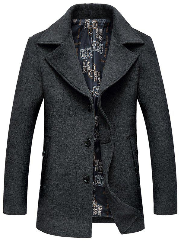 Manteau avec Boutonnage Simple en Laine