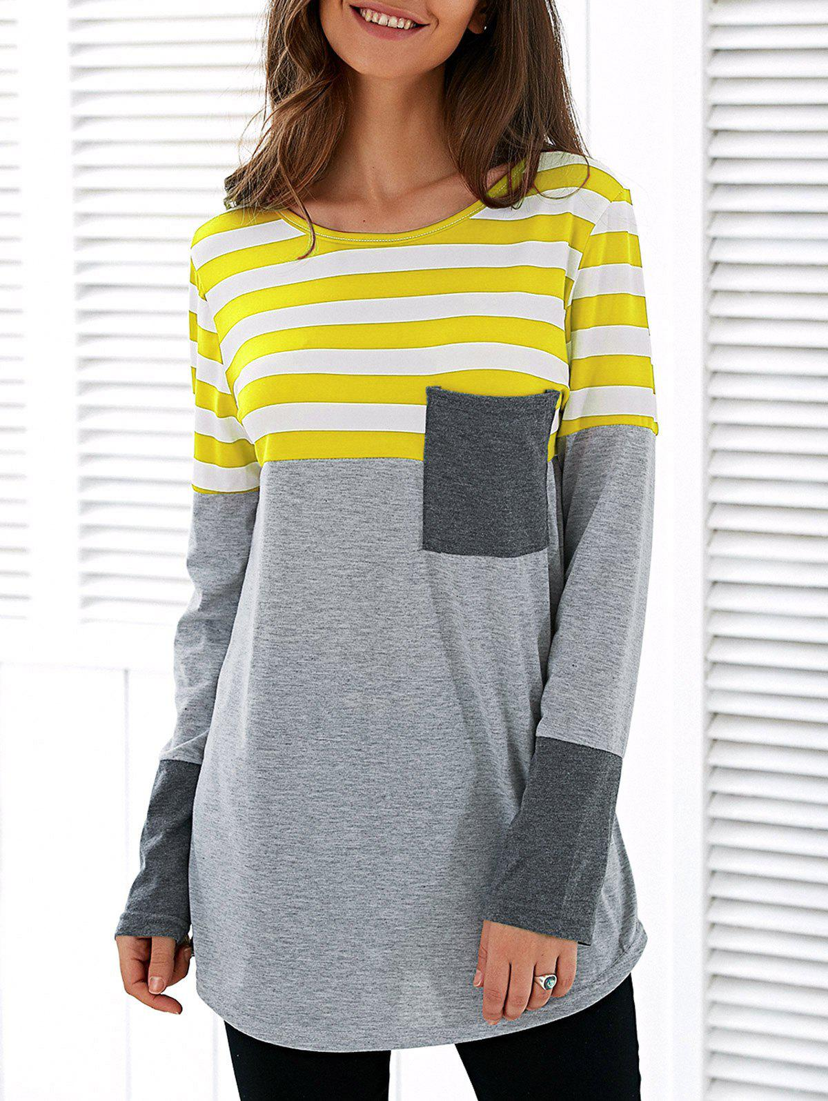 Affordable Patchwork Striped Long Sleeve Asymmetric T-Shirt