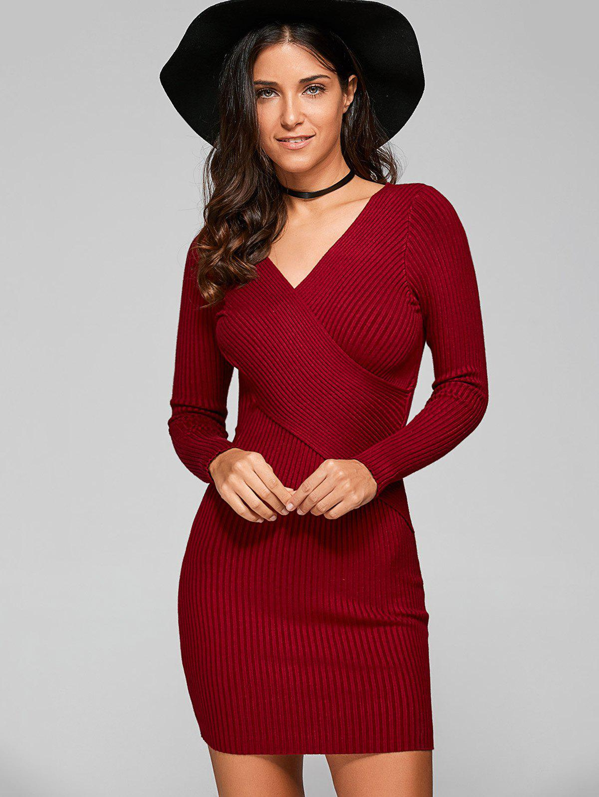 Long Sleeve V Neck Ribbed Sheath DressWOMEN<br><br>Size: ONE SIZE; Color: WINE RED; Style: Casual; Material: Acrylic; Silhouette: Sheath; Dresses Length: Mini; Neckline: V-Neck; Sleeve Length: Long Sleeves; Pattern Type: Solid; With Belt: No; Season: Fall; Weight: 0.570kg; Package Contents: 1 x Dress;