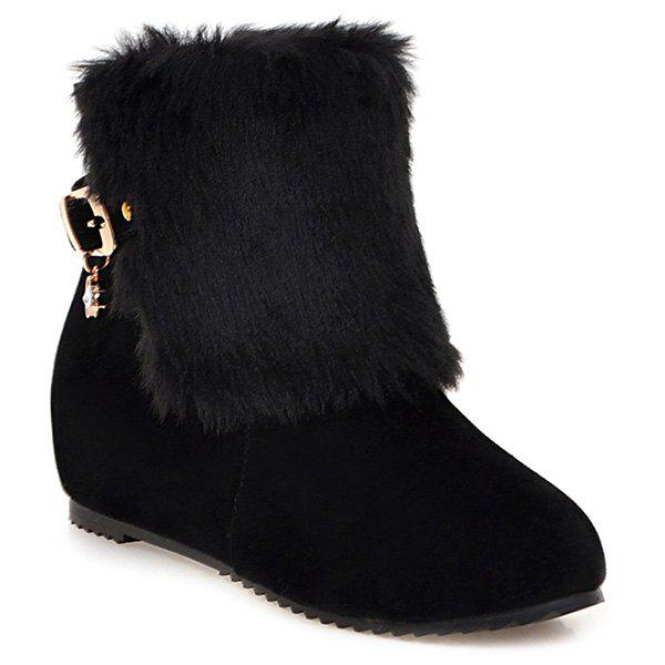 Outfit Buckle Faux Fur Hidden Wedge Boots