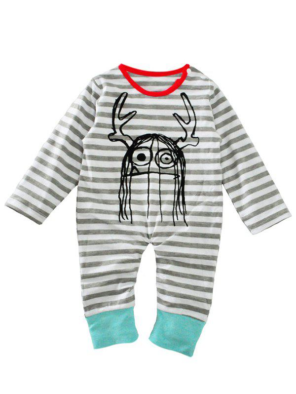 Online Baby Newborn Toddler Print Striped Long Sleeve Jumpsuit Bodysuit