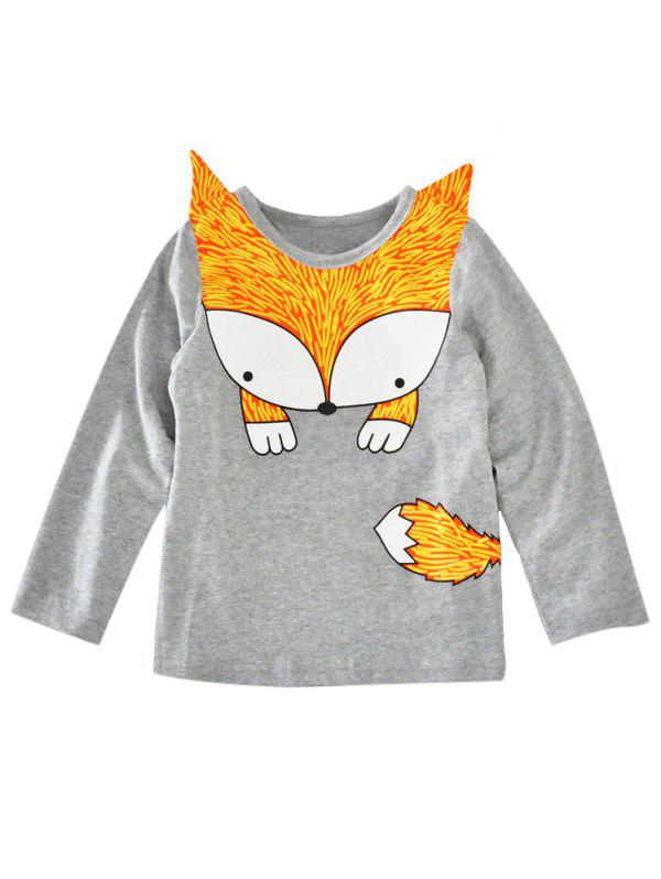 Online Crew Neck Fox Printed Long Sleeve T Shirt