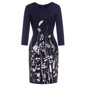 Blossom Embroidered Sheath Dress - Deep Blue - 3xl