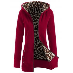 Thick Leopard Printed Inside Hoodie - Wine Red - S