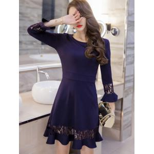 Lace Spliced Bell Sleeves Flare Dress