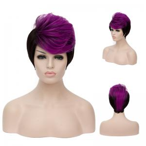 Short Fluffy Side Bang Straight Purple Highlights Synthetic Wig - Colormix - 14inch