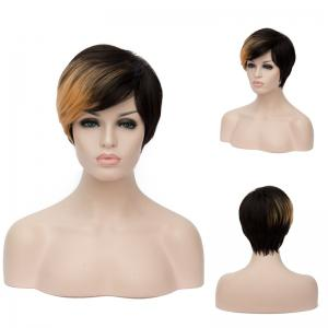 Short Fluffy Side Bang Straight Golden Brown Highlights Synthetic Wig