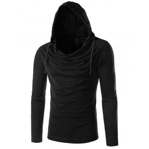 Long Sleeve Plain Drawstring Hooded T-Shirt - Black - 2xl