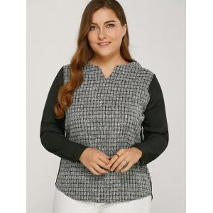 Long Sleeve Plaided Splicing Blouse - Black - 2xl