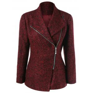 Inclined Zipper Marled Jacket