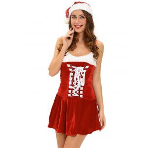 Christmas Cosplay Costume Lace Up Velvet Cami Dress - Red - One Size