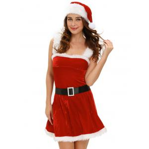 Christmas Cosplay Belted Cut Out Velvet Dress Costume - Red - One Size