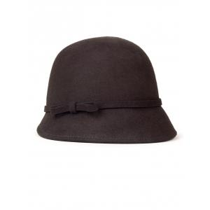 Small Bowknot Lace-Up Embellished Cloche Hat