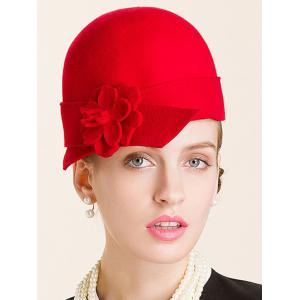 Flower Embellished 20s Wool Fedora Hat - Red - One Size