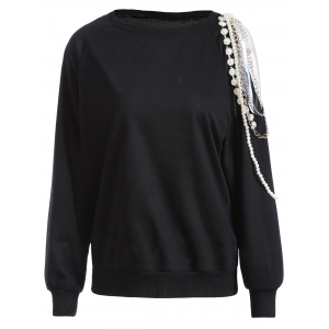 Cold Shoulder Embellished Pullover Sweatshirt