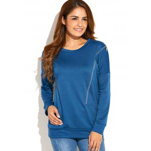 Side Zip Up Pullover Sweatshirt - Peacock Blue - S