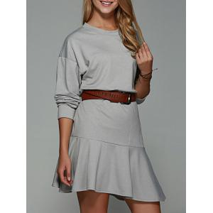 Flounce Pocket Design Loose-Fitting Dress