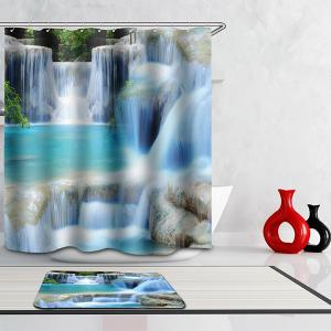 3D Waterfall Scenery Bath Mouldproof Waterproof Shower Curtain - Colormix - W71 Inch * L71 Inch