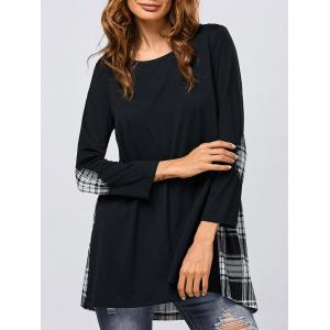 Elbow Patch Plaid Trim Blouse - White And Black - M