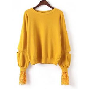 Lace Patchwork Puff Sleeves Knitwear - Yolk Yellow - One Size