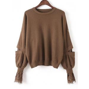 Lace Patchwork Puff Sleeves Knitwear - Deep Brown - One Size
