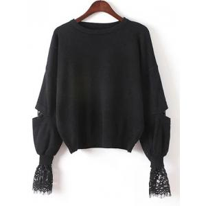 Lace Patchwork Puff Sleeves Knitwear