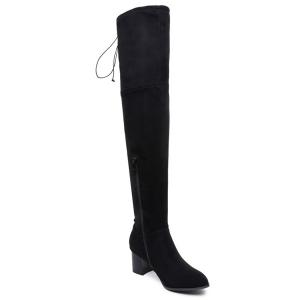 Flock Chunky Heel Thigh High Boots