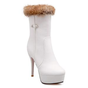Platform Furry Stiletto Heel Boots - White - 37