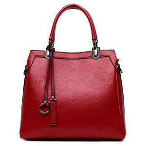 Pendant Textured PU Leather Handbag