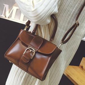 Stitching Buckle PU Leather Handbag - Brown