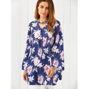 V Neck Long Sleeve Floral Print Loose Dress