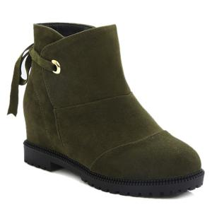 Tie Up Hidden Wedge Suede Ankle Boots