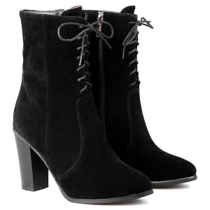 Zipper Chunky Heel Flock Short Boots