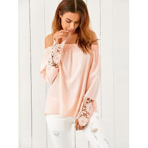 Off The Shoulder Lace Spliced Loose Blouse - Nude Pink - S