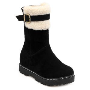 Winter Warm Slip On Suede Platform Snow Boots - Black - 39