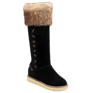 Winter Warm Fur Suede Mid Calf Snow Boots