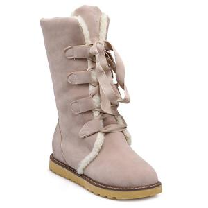 Winter Warm Suede Tie Up Snow Boots - Off-white - 39