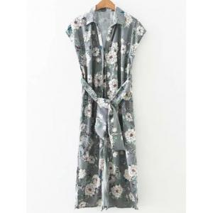 Side Slit Blossom Floral Button Up Longline Shirt Dress